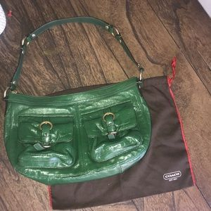 """Coach Kelly green purse used once 13"""" x 9"""" leather"""
